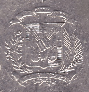 dominican republic coat arms mark coin
