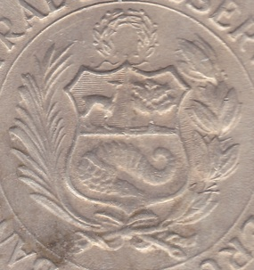 peru coat arms mark coin
