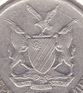 namibia coat arms coin mark